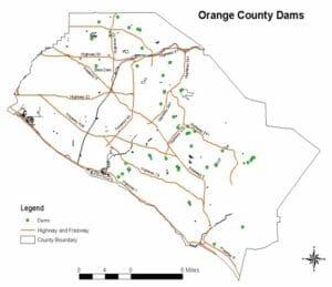 Dams in Orange County Map